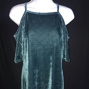 Green Velvet Off The Shoulder Blouse